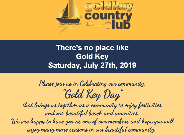 """Gold Key Day"" Saturday,  July 27th 2019"