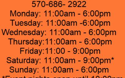 Summer Recreation Room Hours  Effective 6/20/2020