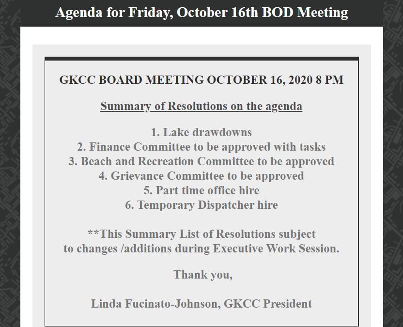 October 16, 2020 BOD Meeting Agenda